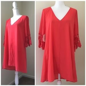 NWT Altar'd State Coral Pink Lace Swing Dress